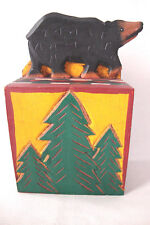 Hand Painted and Carved Wood Bear Bank with Pine Trees