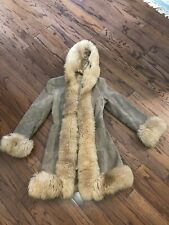 Vtg 60s Chelsea House Of London Lamb Fur Leather Hooded Jacket England Sz Xs
