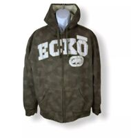Ecko Unlimited Mens Full Zip Jacket Hooded Green Patched Design Size  Large