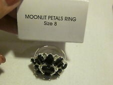 AVON Moonlit Petals Ring-Fauceted Faux Stones in Silvertone with Rhinestones S 8