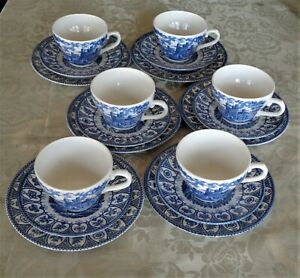 Broadhurst Blue White Trios Queens Jubilee Set Balmoral Caernarvon Castles