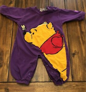 Vintage Disney Winnie The Pooh Bear Embroidered One Piece Toddler 6 Months Baby