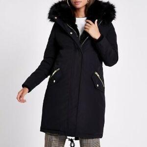 River Island Faux Fur Trimmed Parka- Black  RRP:£139.99 UK 8  EUR 34