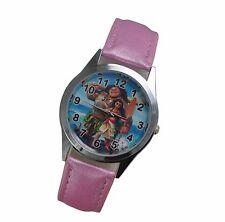 Disney's Princess Moana Genuine Pink Leather Band Wrist Watch