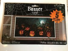 Field Of Screams Halloween Banner Scene Setter Wall Poster 5' Jack-O-Lanterns