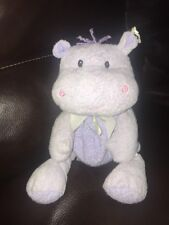 Eden Plush Hippo Lavender Purple Pink Bow Flowers Lovey Rattle Baby Toy #11