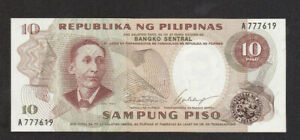 10 PISO UNC BANKNOTE FROM PHILIPPINES 1969 PICK-144