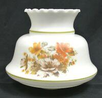 "2"" Fitter 6.5"" Milk Glass Crimp Top Chandelier Hurricane Lamp Shade Floral Decor"