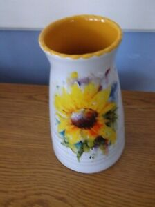 "Dean Crouser 7"" Sunflower Watercolor Glossy Ceramic Stoneware Vase"