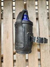 Handmade leather thermal bottle holder for motorcycle forks and other 0.40L