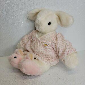 Vintage Rare 1985 Gund Bunny Two Shoes White Pink Slippers Star Pajamas Plush