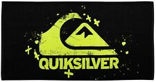 """Quiksilver Chill Out Beach Towel 30"""" x 60"""" Black Yellow Spell Out NEW"""