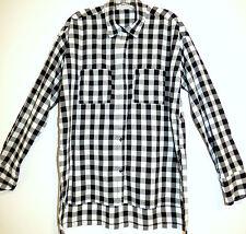 ** ABERCROMBIE & FITCH ** Black & White Plaid Long Crisp Cotton Tunic Shirt S