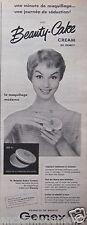 PUBLICITÉ 1955 BEAUTY CAKE CREAM GEMEY LE MAQUILLAGE MODERNE - ADVERTISING