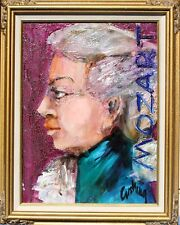 """MOZART"" by ANN CUSHING Original Oil on Canvas Painting 12x9 Framed FANTASTIC"