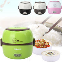 1.3L Electric Portable Lunch Box Rice Cooker Steamer 2 Layer Stainless Stee
