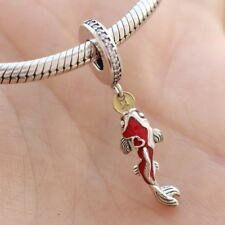 925 Sterling Silver Good Fortune Carp Charm Clear CZ Mixed Enamel Dangle Pendant