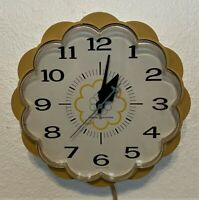 Vintage GE General Electric Yellow Daisy Electric Kitchen Wall Clock - 7.25""