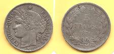 Lot pièce 5 Francs Cérès 1871 K argent TTB+ rare voir scan