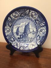 "Vintage Boch DELFT BLUE 9"" Floral Display Plate with Boats & Windmills"