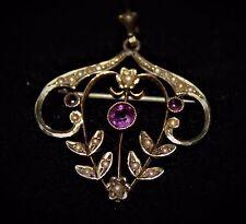 Sementi VIOLA AMETISTA PERLA ORO 9 CT Art Nouveau Collana con Pendente Vittoriano