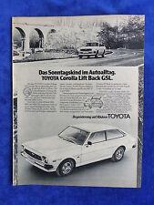Toyota Corolla Lift Back GSL-ANNONCE PUBLICITAIRE Publicité Publications 1977 __ (077