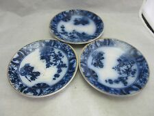 3x vintage flow blue Gilman & CTA Sacavem saucers. Portugal