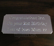 Engraved Trophy Plaque Plates, Silver, 90 x 38mm Self Adhesive Times Roman Cells
