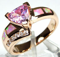 Rose Gold Plated Pink Topaz & Pink Fire Opal 925 Sterling Silver Ring size 6-9
