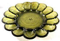 """Vintage Avocado Glass Sunflower Deviled Egg Tray Hobnail 11"""" dia Holds 15 Eggs"""