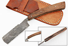 Damascus Steel Straight Razor Cut Throat Barber Salon Shaving Free Pouch 1568