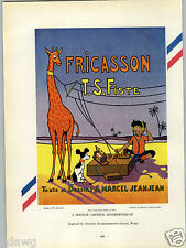 1927 PAPER AD French Cartoon Crystal Radio Giraffe Jeanjean Print Award Winner