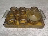 8 PC Tray + 6 x Tea Glass Holder + 1 x Sugar Bowl - Metal / - around 1950/60