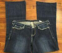 Women's Size 7 YNQ Flare Jeans Dark Wash Stretch Blue Juniors Inseam 28