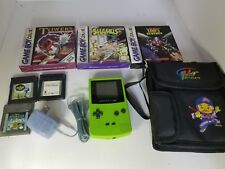 Nintendo Game Boy Color Lime Green Handheld System 6 Games Case Ac adapter L4