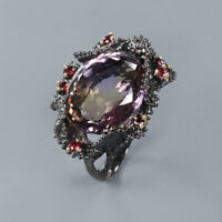 Natural Ametrine 925 Sterling Silver Ring Size 8/RR17-1188
