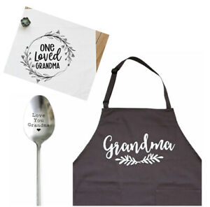 Grandma Gifts- Gifts for Grandma from Grandchildren - Apron, Spoon & Tea Towel