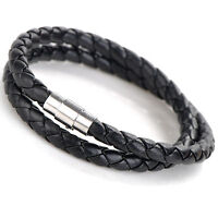 Men Women Double Wrap Leather Stainless Steel Wristband Bracelet Magnetic Clasp