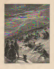Toboggan In Canada, Winter Sports, Sledding, Vintage, 1870 Antique Art, Print,