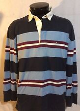 Tommy Hilfiger Blue White Maroon Long Sleeve Rugby Shirt Sweater XL