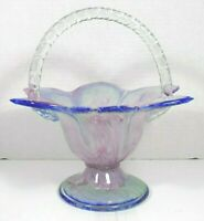 "Handblown Glass Multi-Colored 5"" Handled Petal Dish/Vase"