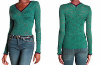 Intimately Free People Lace Long Sleeve Shirt XSmall 0 2 Green Contrast Trim NWT