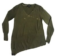 Mossimo Tunic Olive Green V Neck Asymmetric Light weight Sweater Sz Small