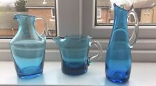 Small Vintage, Blue Glass Jugs