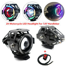 Multicolor Halo LED Motorcycle Headlight Spot Lamp Light Projector Lens CREE125W