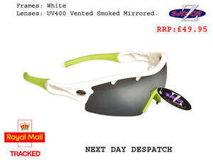 RayZor White Sports Wrap Sunglasses Uv400 Vented Smoke Mirrored Lens (220