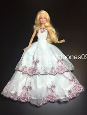 Barbie Doll Wedding Party Evening Dancing Dress/Clothes/Outfit Pink Rose New