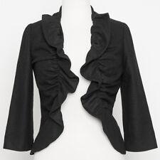 Anthropologie Tabitha Black Ruffled Bolero Shrug Jacket RA# 98544 Size 0