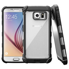 For Galaxy S6 Poetic [Slim Thin] TPU Bumper Shockproof Black/Clear Cover Case