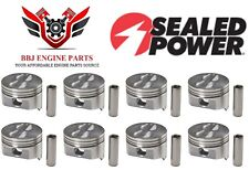Chevy Chevrolet 350 5.7 Sbc Sealed Power Flat Top Pistons (8) 1968 - 1995